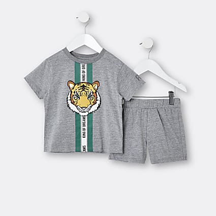 Mini boys grey tiger stripe pyjama set