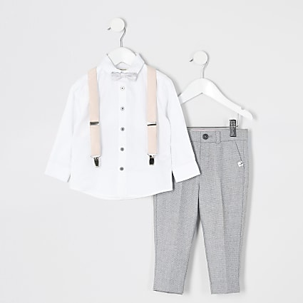 Mini boys grey trousers and braces outfit