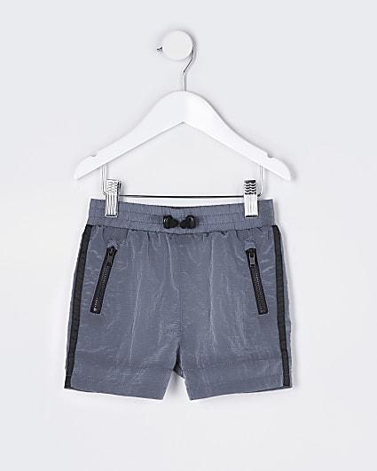Mini boys grey two tone tech shorts