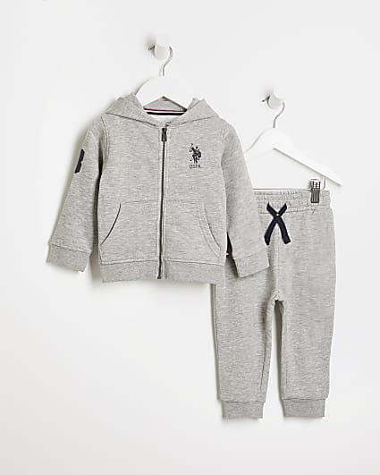 Mini boys grey USPA hoodie and joggers set