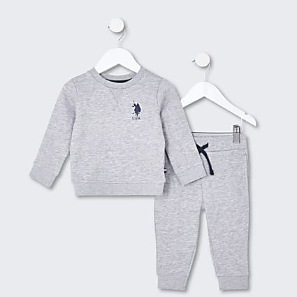 Mini boys grey USPA sweatshirt outfit