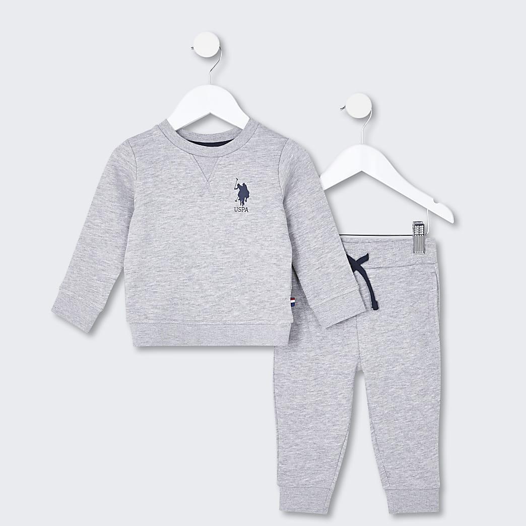 Mini boys grey USPA sweatshirt outfit