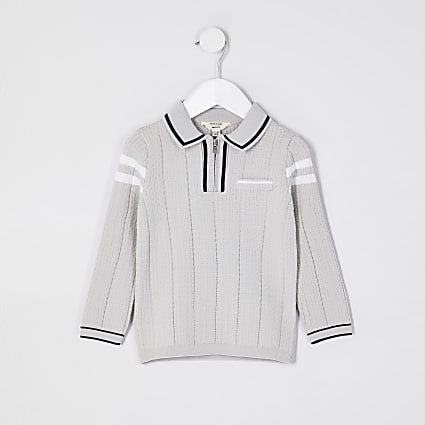 Mini boys grey waffle stripe polo shirt