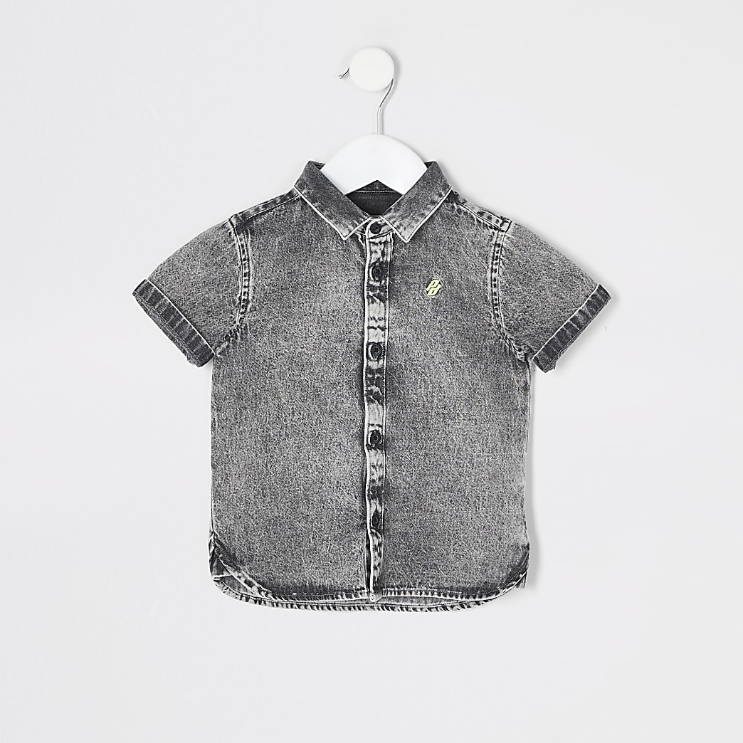 Mini boys grey washed denim shirt