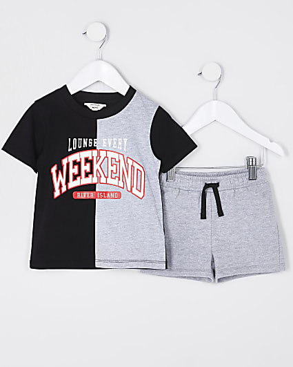Mini boys grey 'Weekend' pyjama set