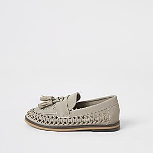 Mini – Graue, gewebte Loafer mit Quasten
