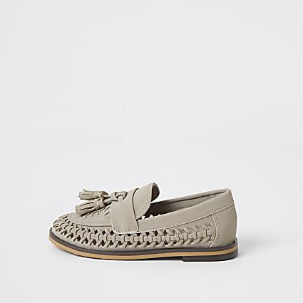 Mini boys grey woven tassel loafers