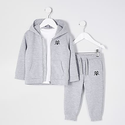Mini boys grey zip through hoody 3 piece set