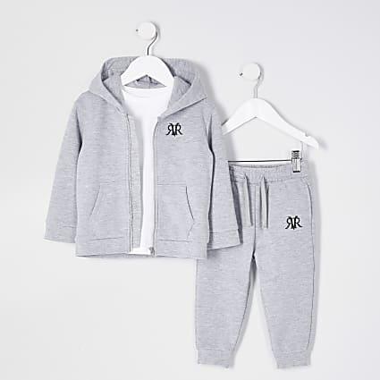 Mini boys grey zip up hoody 3 piece set