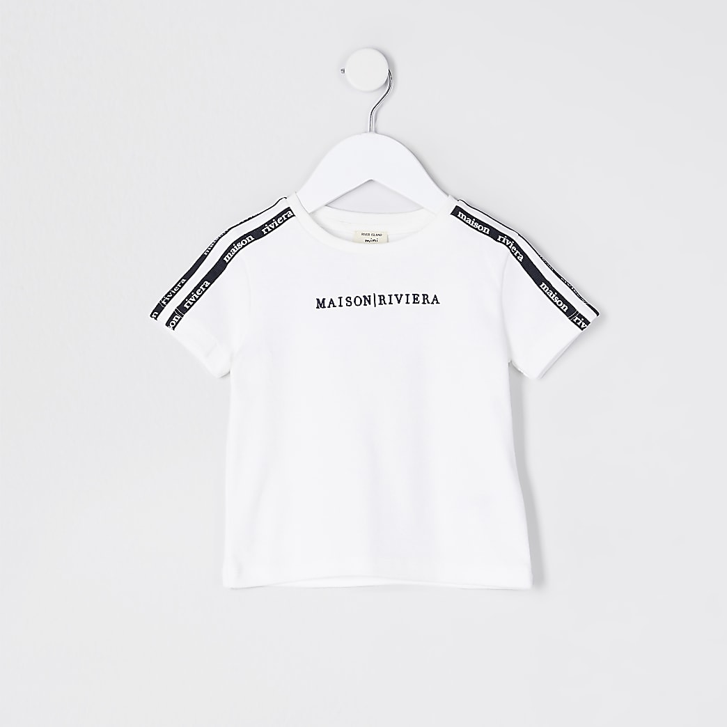 Mini boys ivory 'Maison Riviera' tape t-shirt