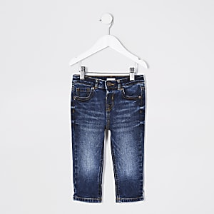 Mini - Jake - Donkerblauwe regular jeans voor jongens