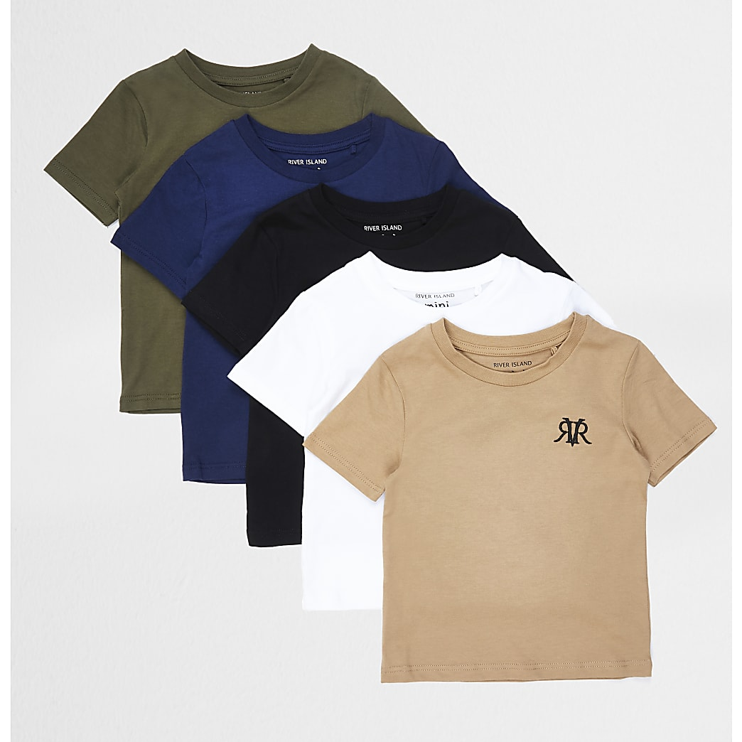 Mini boys khaki 5 pack t-shirts