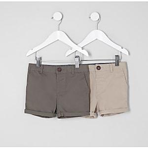 Mini - Multipack kaki en kiezelkleurige shorts voor jongens