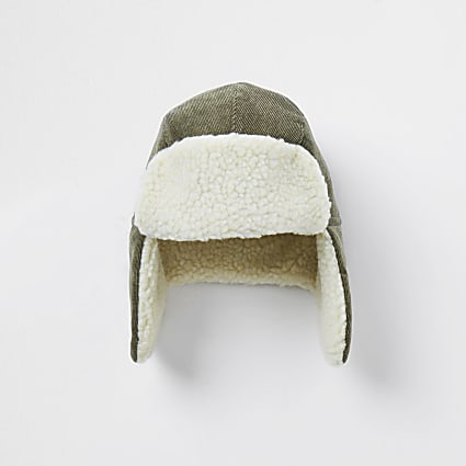 Mini boys khaki borg trapper hat