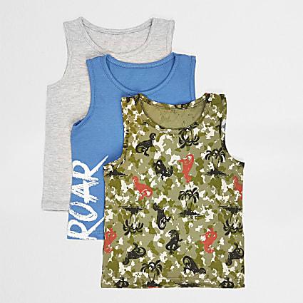 Mini boys khaki camo 3 pack vest set