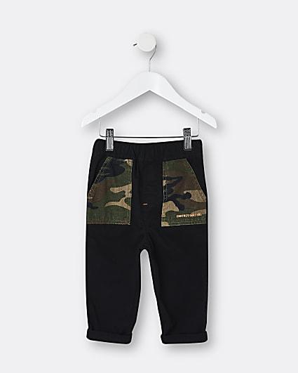Mini boys khaki camo cargo trousers
