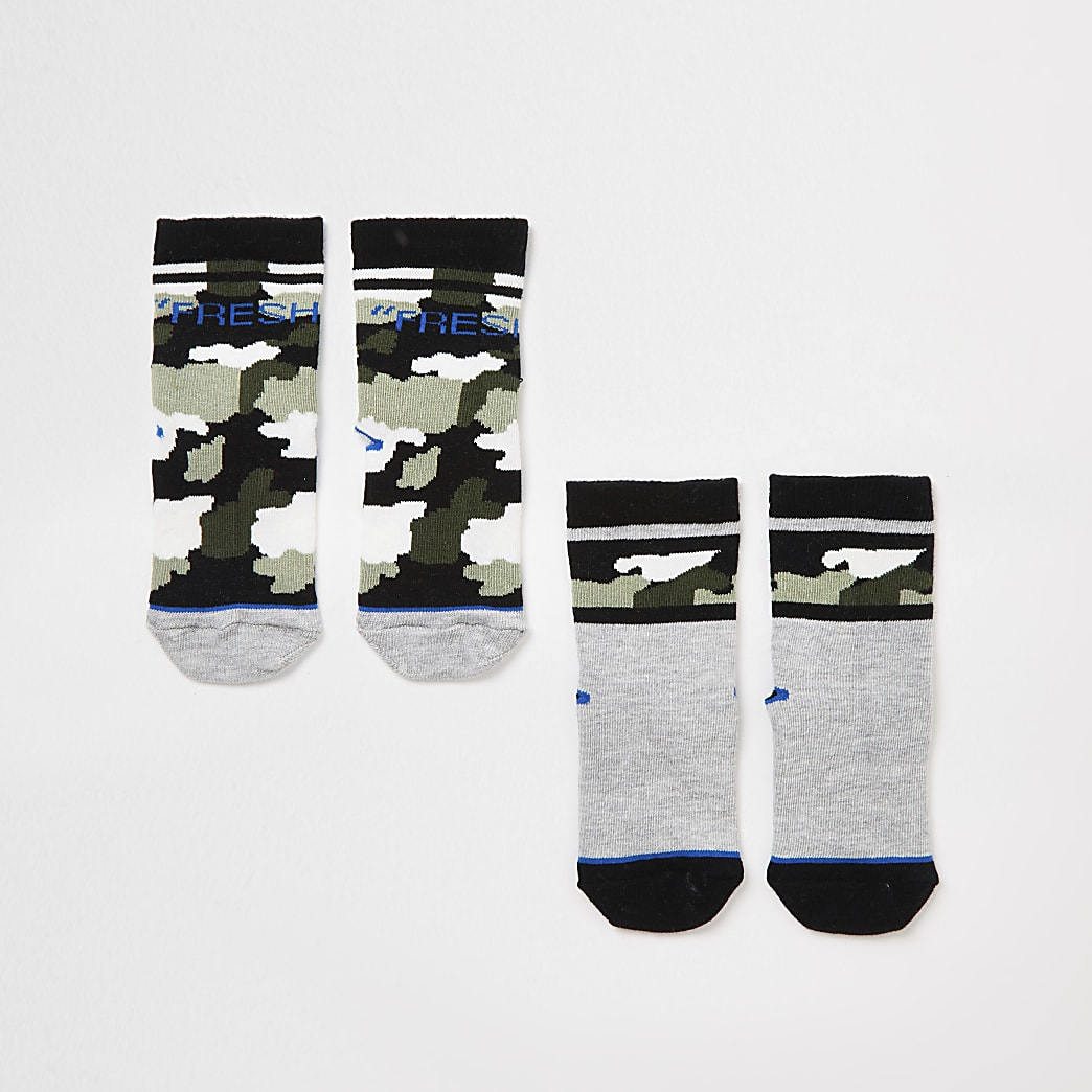Mini boys khaki camo 'Fresh' socks 2 pack