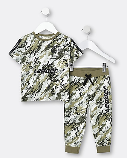 Mini boys khaki camo t-shirt and joggers set