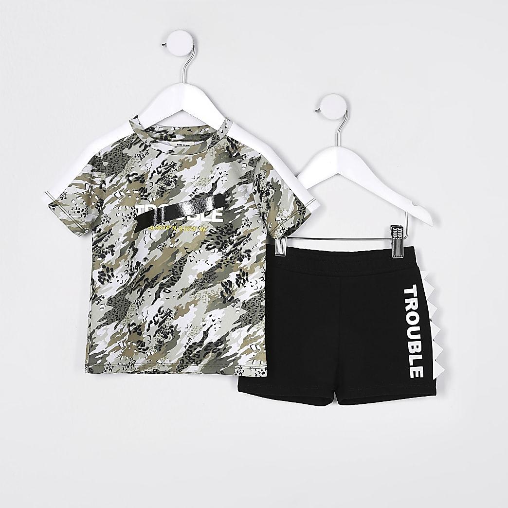 Mini boys khaki camo t-shirt outfit