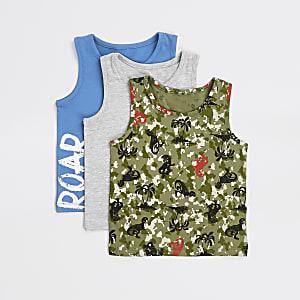 Mini - Set van 3 blauwe, grijze en kaki met camouflageprint vesten voor jongens
