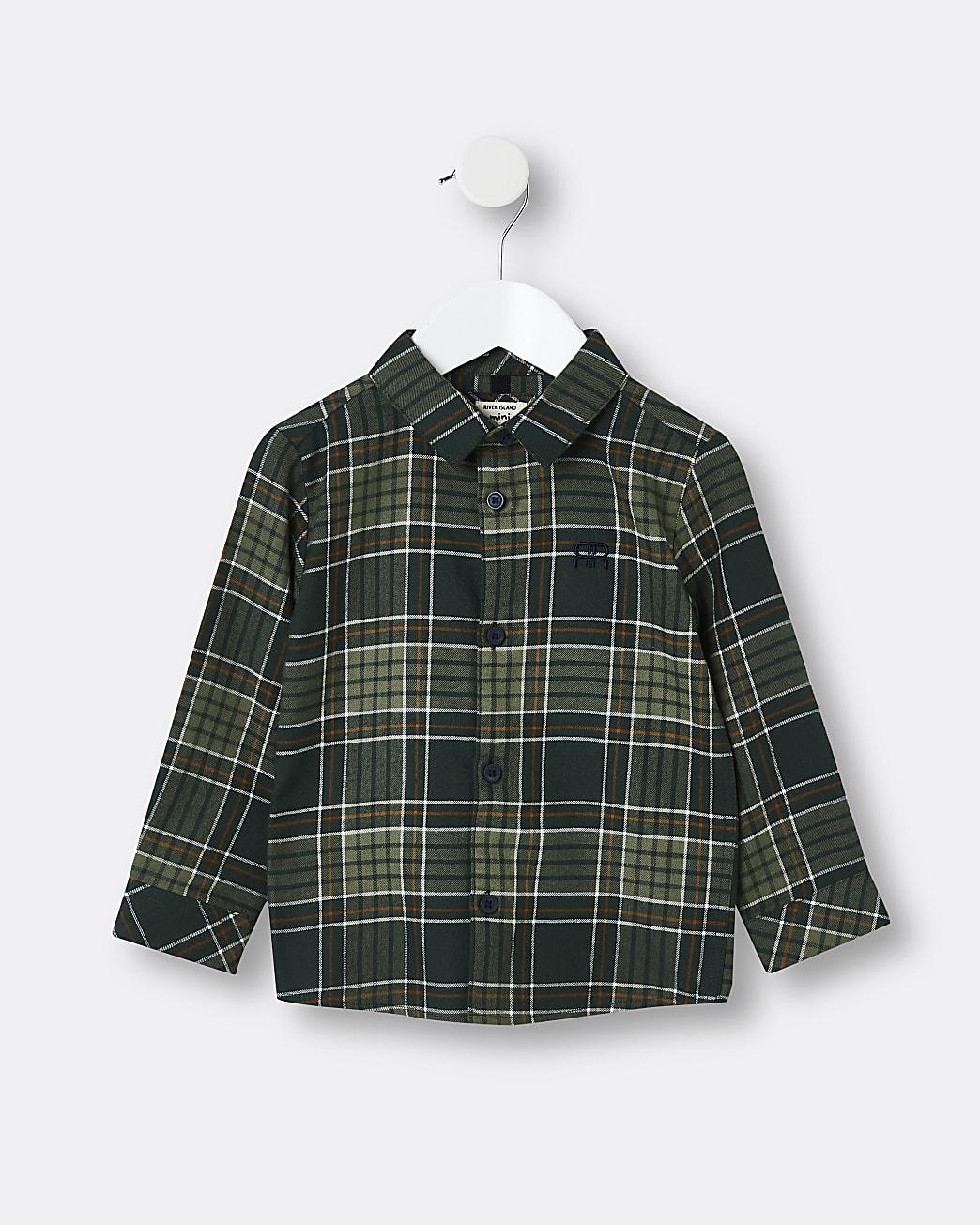 Mini boys khaki check print shirt