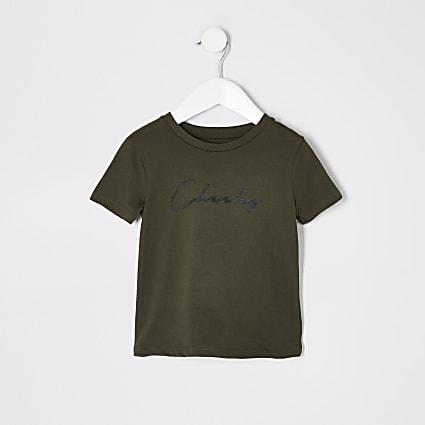 Mini boys khaki 'Cheeky' T-shirt