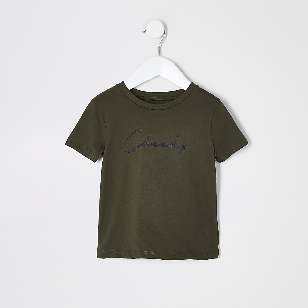 Mini boys khaki 'Cheeky' T-shirt