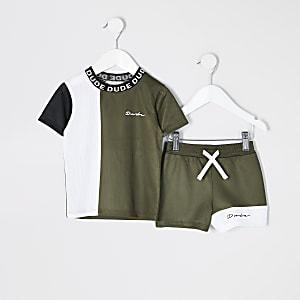 Mini - Kaki mesh T-shirt en short set met kleurvlakken voor jongens