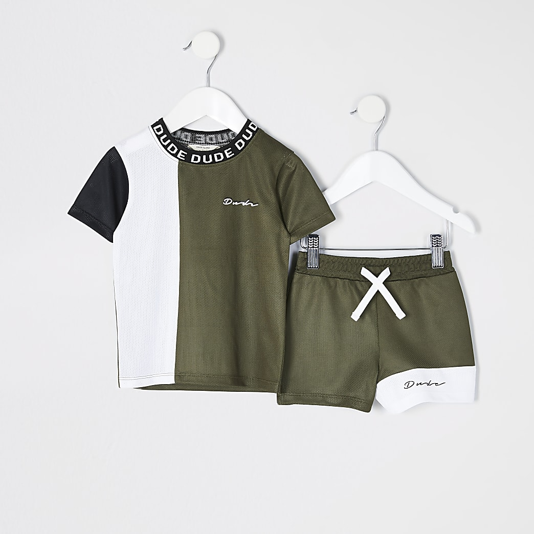 Mini Boys Khaki Colour Blocked Mesh Set