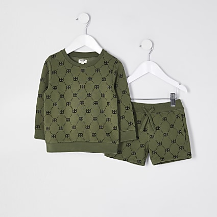 Mini boys khaki crew neck outfit