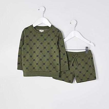 Mini boys khaki crew neck outfit