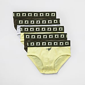 Mini - Kaki RI boxers met 'Dino'-print voor jongens set van 5