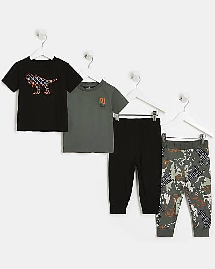 Mini boys khaki dinosaur pyjamas 2 pack