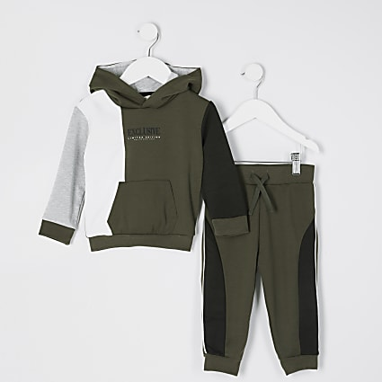 Mini boys khaki 'Exclusive' printed outfit
