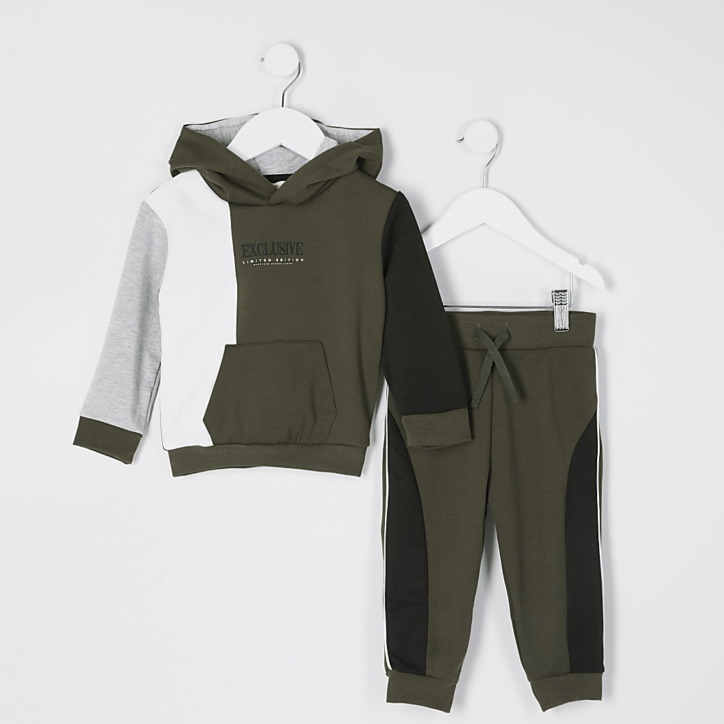 Mini boys khaki 'Exclusive' printed outfit