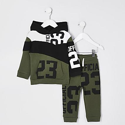 Mini boys khaki green 23 print hoodie outfit
