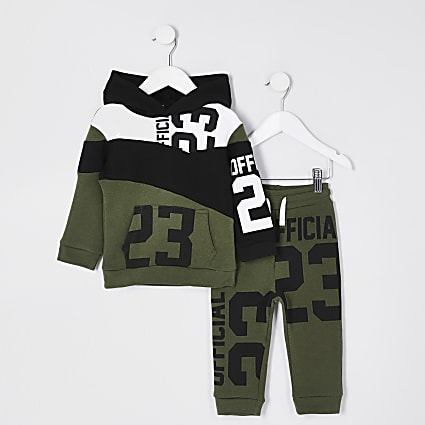 Mini boys khaki green 23 print tracksuit
