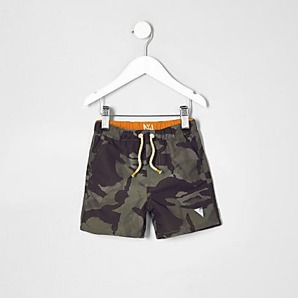 Mini boys khaki green camo swim shorts