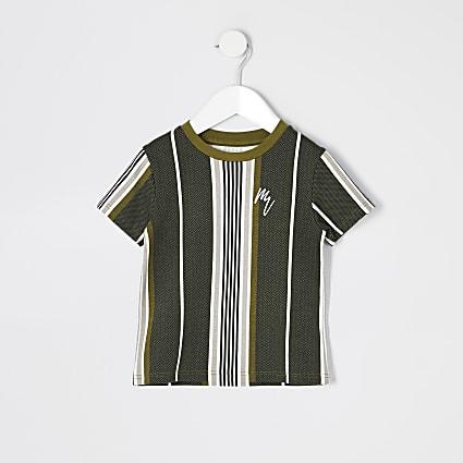 Mini boys khaki herringbone stripe T-shirt