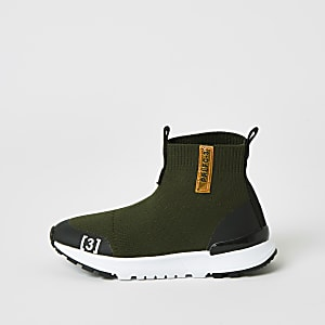 Mini – High-Top-Sneaker aus Strick in Khaki für Jungen