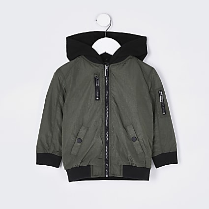 Mini boys khaki hooded bomber jacket