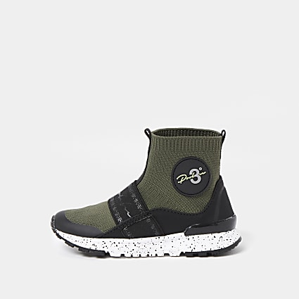 Mini boys khaki knit sock trainer