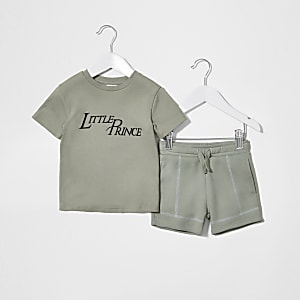 Mini boys khaki little prince short set