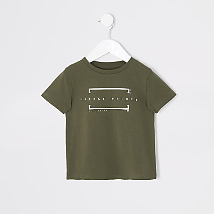 Mini boys khaki 'Little Prince' T-shirt
