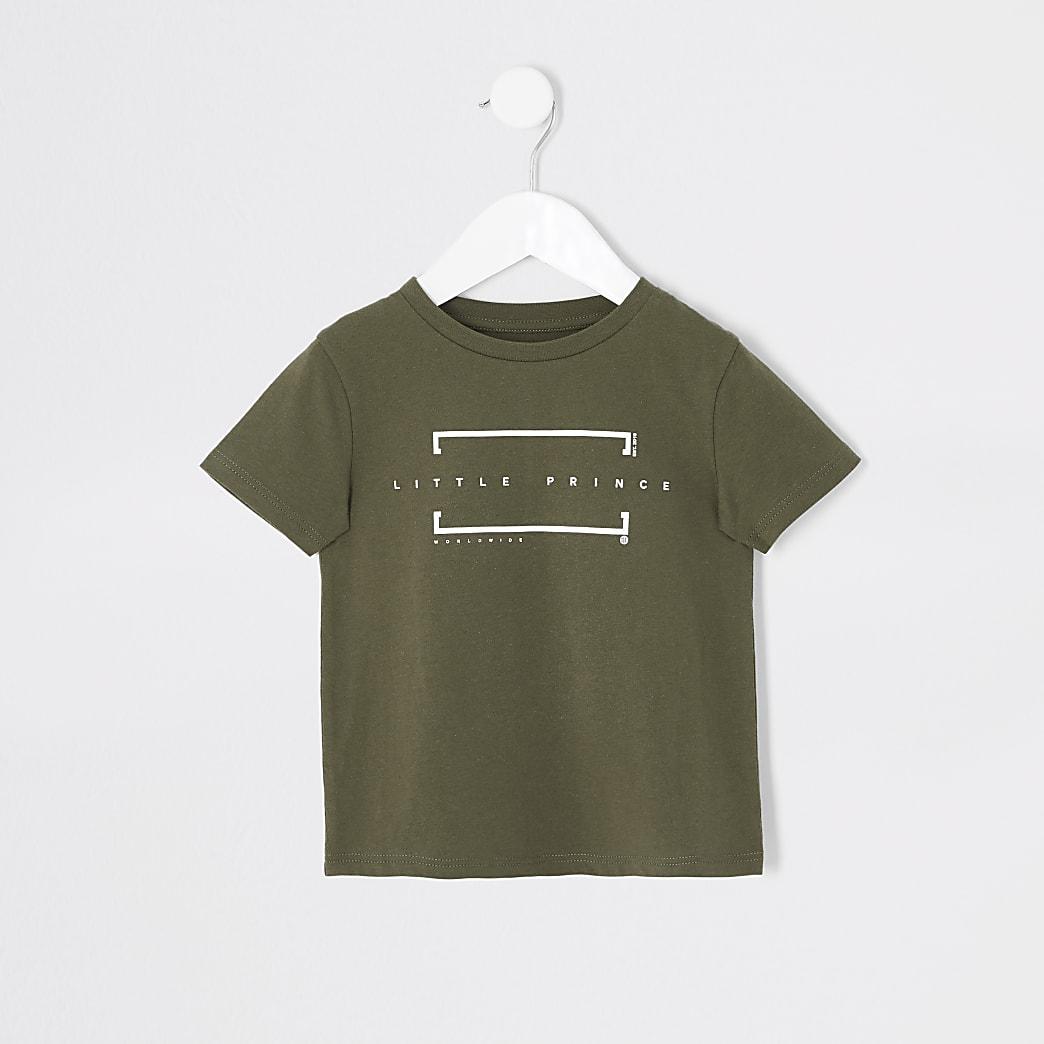 Mini - Kaki T-shirt met 'Little Prince'-tekst voor jongens