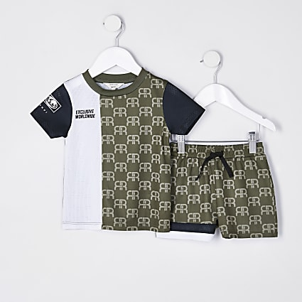 Mini boys khaki monogram mesh shorts outfit
