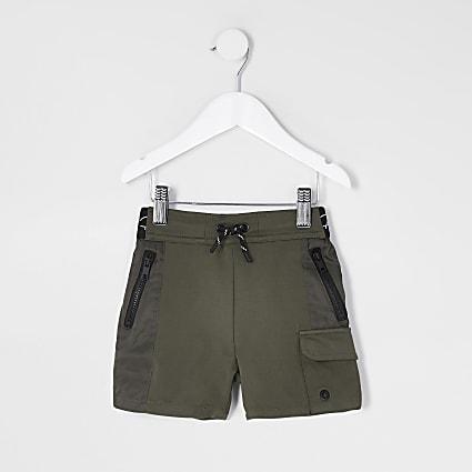 Mini boys khaki nylon jersey blocked short