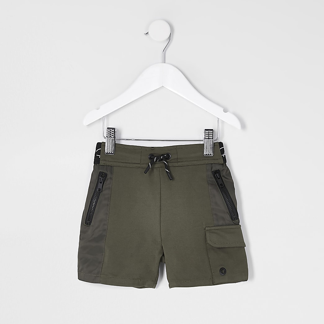 Mini boys khaki nylon jersey blocked short