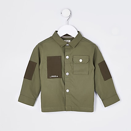 Mini boys khaki pocket shirt