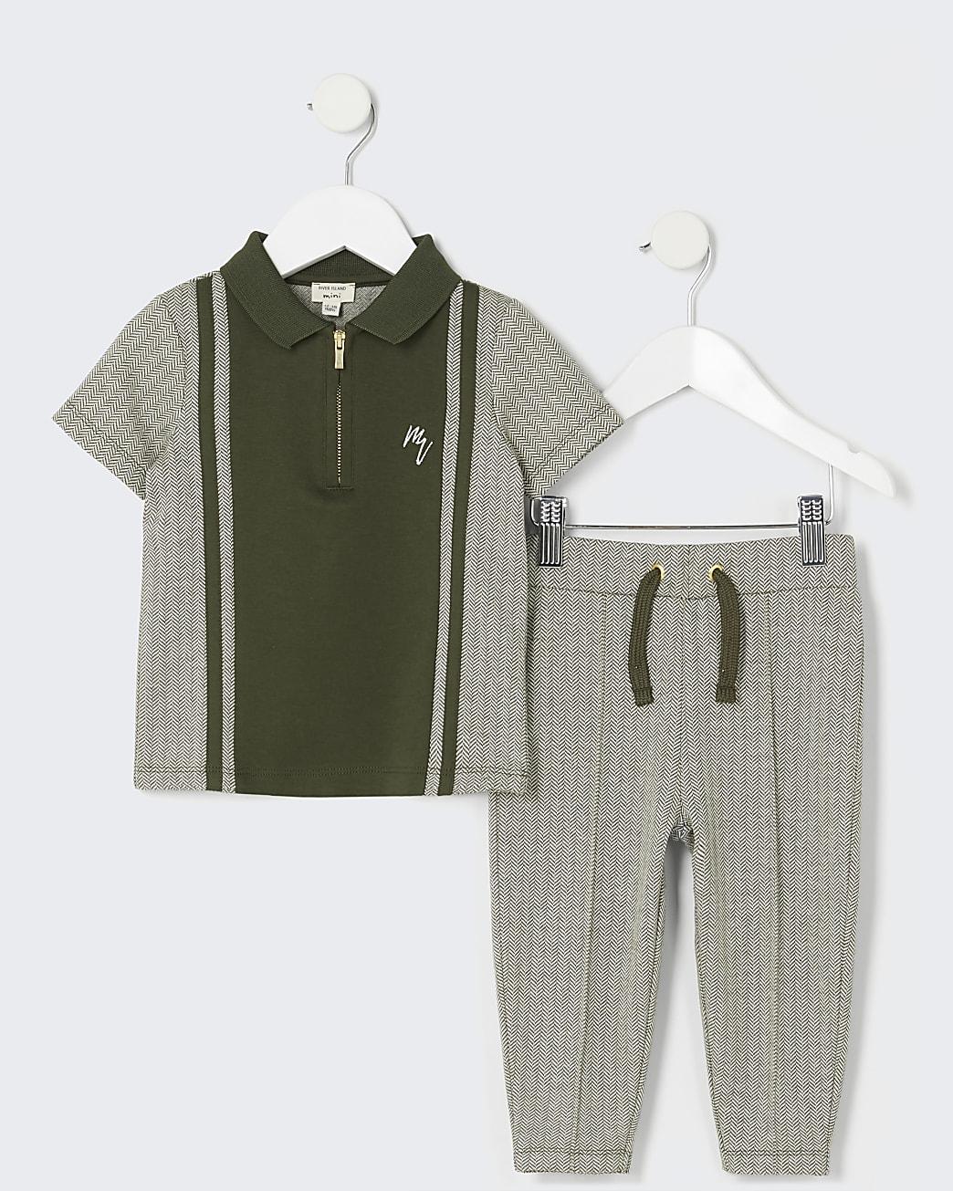 Mini boys khaki polo shirt and jogger outfit